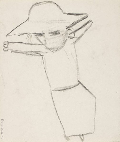 An image of (Reclining schoolgirl) by Charles Blackman