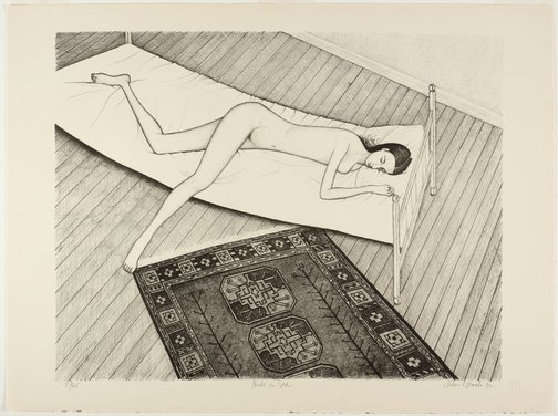 An image of Nude on bed by John Brack