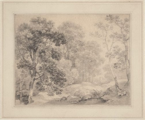 An image of Trees by a pool by Thomas Gainsborough