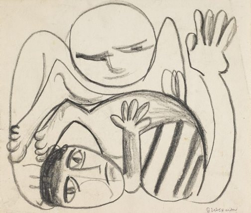 An image of (Two figures) by Charles Blackman