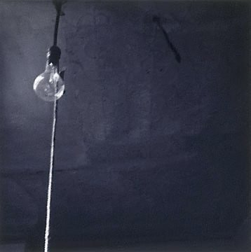An image of Ceiling and light bulb by Robert Rauschenberg