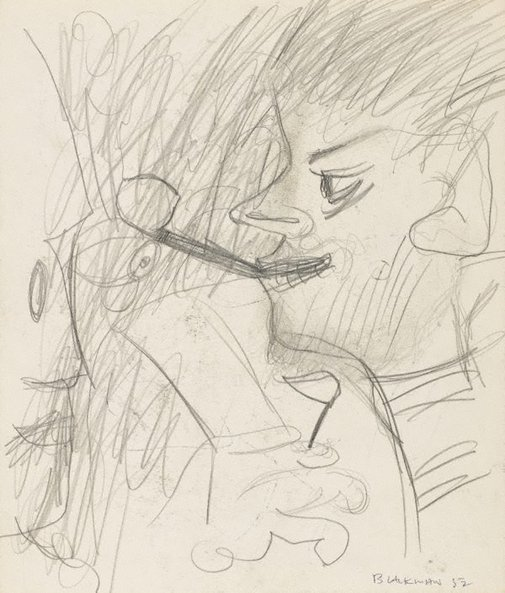 An image of recto: (Smoking figure) verso: (Study of a head) by Charles Blackman