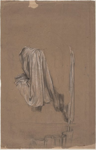 An image of Drapery study for Solitude by Lord Frederic Leighton