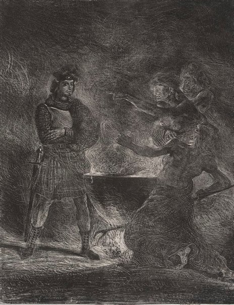 An image of Macbeth consulting the witches by Eugène Delacroix