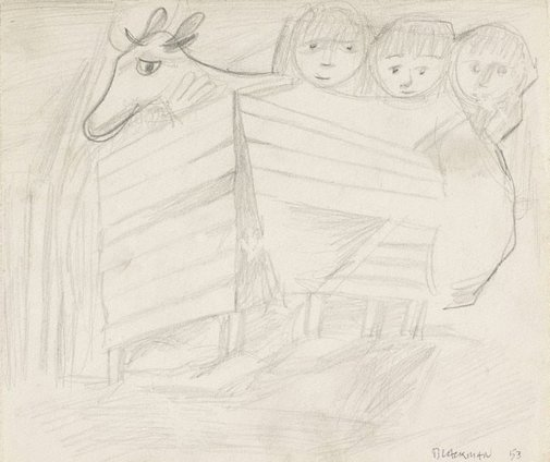 An image of (Cow and three children in stall) by Charles Blackman