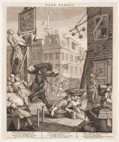 An image of Beer street by William Hogarth