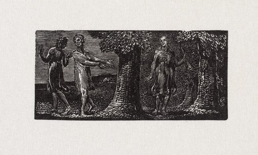 An image of Colinet mocked by two boys by William Blake