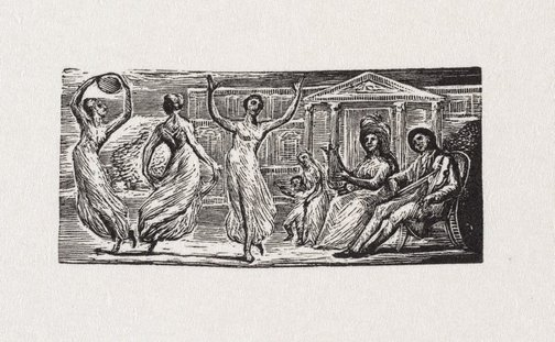 An image of Menalcas watching women dance by William Blake