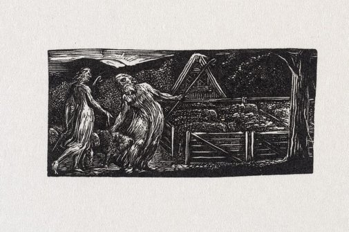 An image of Thenot and Colinet lead their flocks together by William Blake