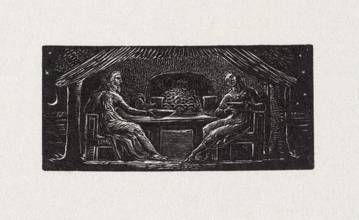An image of Thenot and Colinet eat their evening meal by William Blake