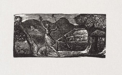An image of Shepherd chases away wolf by William Blake