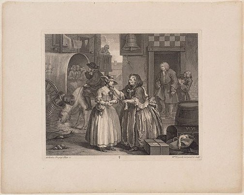 An image of A Harlot's Progress: plate 1 by William Hogarth