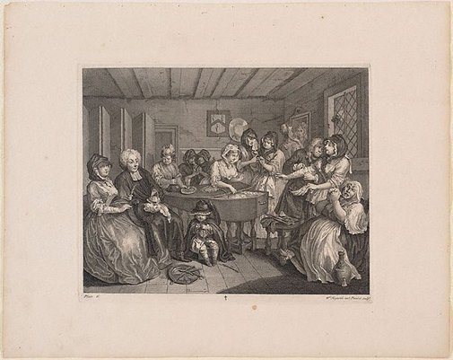 An image of A Harlot's Progress: plate 6 by William Hogarth