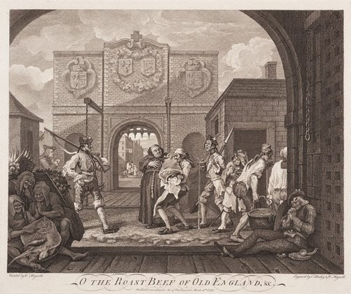An image of The gate of Calais or the roast beef of old England by William Hogarth