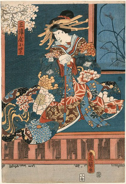 An image of [Kabuki actor in the role of courtesan Komurasaki of Miura-ya] by Utagawa KUNISADA /TOYOKUNI III