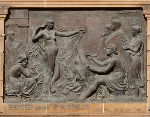 An image of Phryne before Praxiteles by Percival Ball, Singer and Sons, Foundry