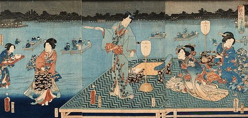 An image of Genji enjoying the evening cool by Utagawa KUNISADA /TOYOKUNI III, Utagawa KUNIHISA