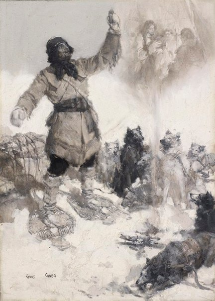An image of Canadian trapper waylaid by wolves by Cyrus-Cincinnati Cuneo