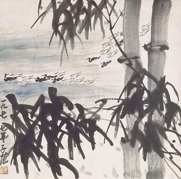 An image of Ducks and bamboo