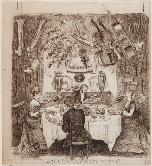 An image of Spiritualism made useful by George du Maurier