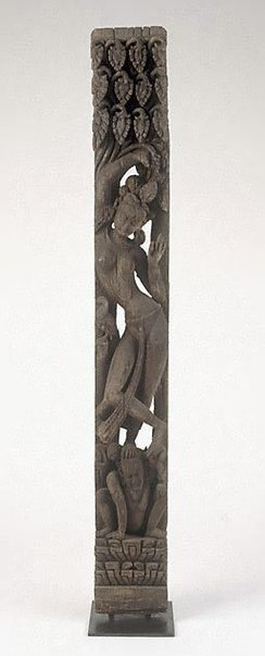 An image of Carved temple strut (tunala) depicting a celestial female by
