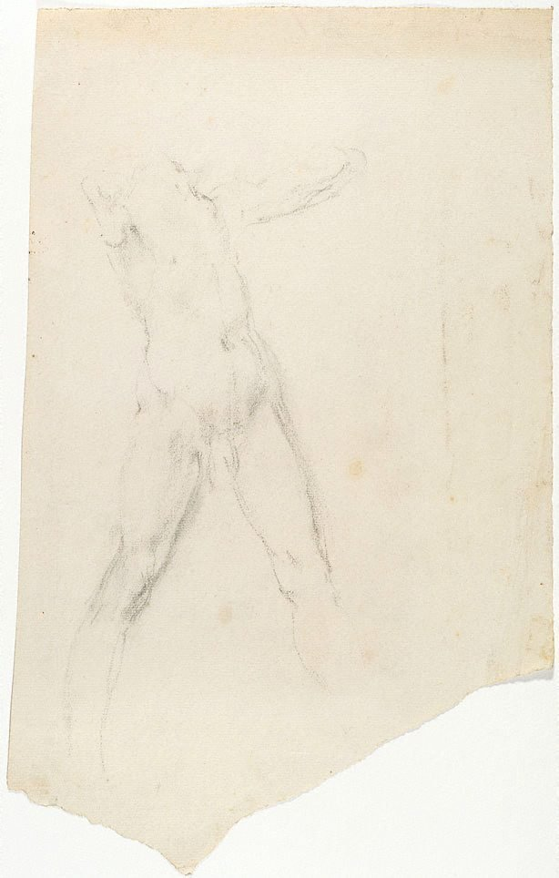 An image of recto: (Standing man) verso: (Study of male nude)