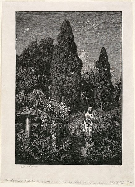 An image of The romantic garden by Lionel Lindsay