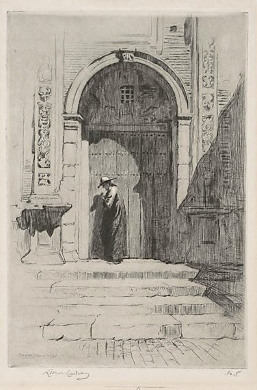 An image of The Bishop's door by Lionel Lindsay
