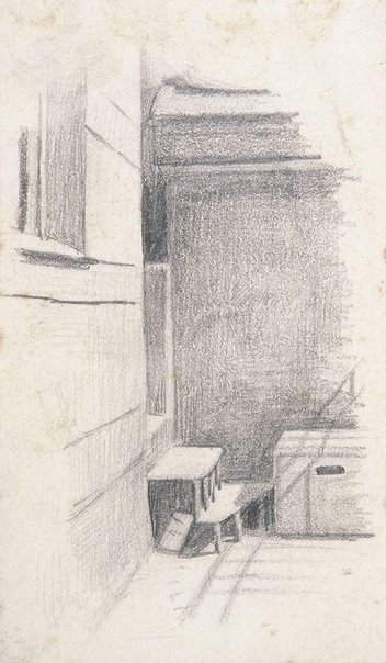 An image of Mutter Müller's balcony, in yard by Lyonel Feininger