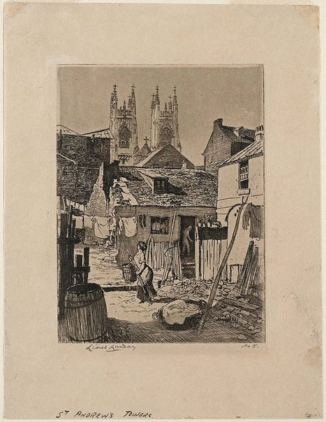 An image of St. Andrew's towers by Lionel Lindsay