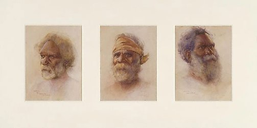 An image of Heads of Australian Aborigines (a. Merriman, King of Bermagui; b. Coonimon, Bermagui; c. Droab, Bermagui) by BE Minns