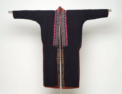 An image of Woman's embroidered cross stitch garment with leaf pattern by Yao people