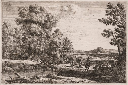 An image of The wooden bridge by Claude Lorrain