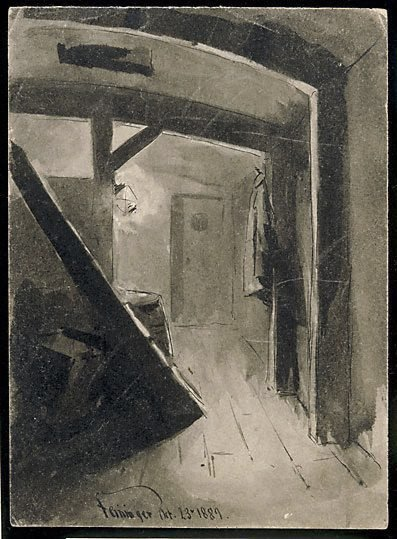 An image of (Interior, below deck in a ship) by Lyonel Feininger