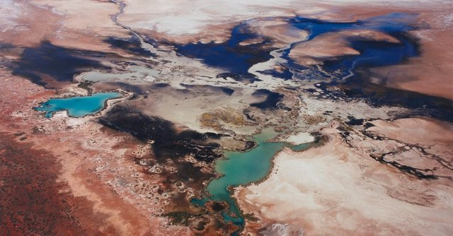 An image of 4833 Seawater leaching into Lake Macleod, north of Carnarvon, Western Australia