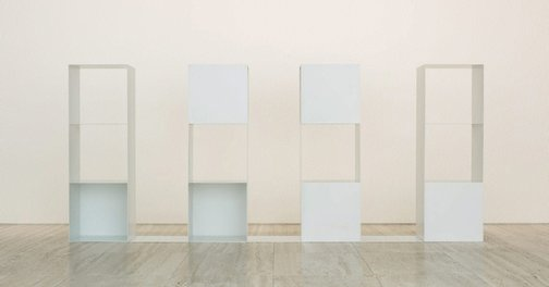 An image of Three-part variations on three different kinds of cubes - elements for serial projects: 2 2 3 (4 parts) by Sol LeWitt