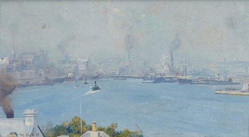 An image of (Sydney Harbour from Milson's Point) by Tom Roberts