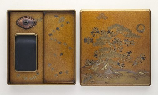 An image of Inkstone case with design of pine tree and citrus by Unknown