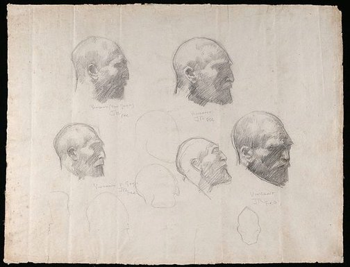 An image of Five studies of Vincent van Gogh by John Peter Russell