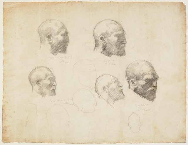 An image of Five studies of Vincent van Gogh