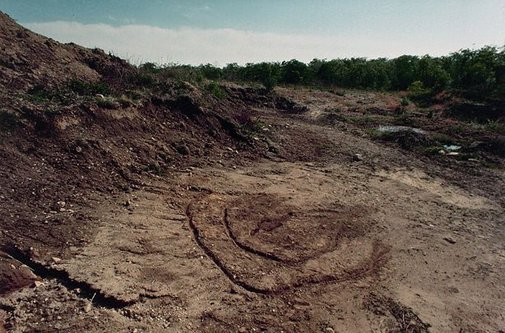 An image of Colour photograph documenting earth / body work with earth, Sharon Center, Iowa City by Ana Mendieta