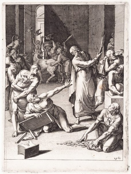 An image of The expulsion from the Temple by Cornelis Cort, after Federico Zuccaro