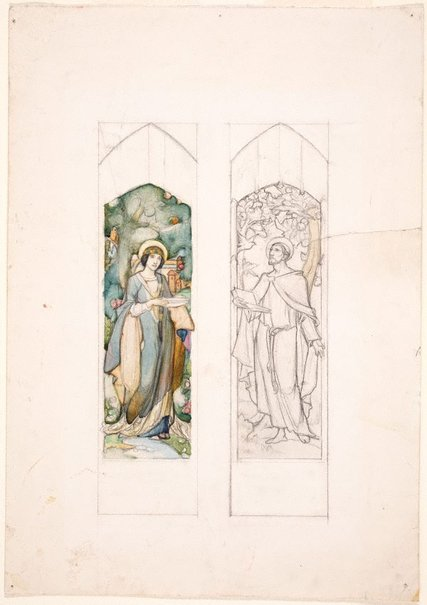 An image of Design for stained glass, St Clare and St Francis by Christian Waller