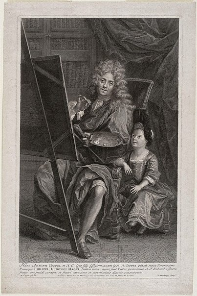 An image of Antoine Coypel and his son by Gaspard Duchange, after Antoine Coypel