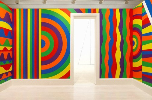 An image of Wall drawing #1091: arcs, circles and bands (room) by Sol LeWitt