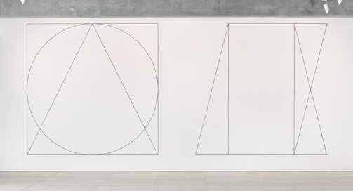 An image of Wall drawing #303: Two part drawing. 1st part: circle, square, triangle, superimposed (outlines). 2nd part: rectangle, parallelogram, trapezoid, superimposed (outlines) by Sol LeWitt