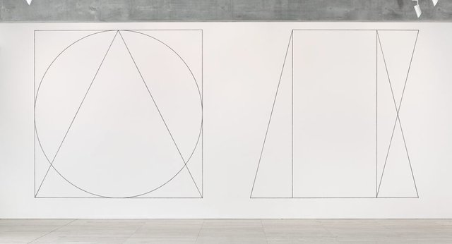 An image of Wall drawing #303: Two part drawing. 1st part: circle, square, triangle, superimposed (outlines). 2nd part: rectangle, parallelogram, trapezoid, superimposed (outlines)