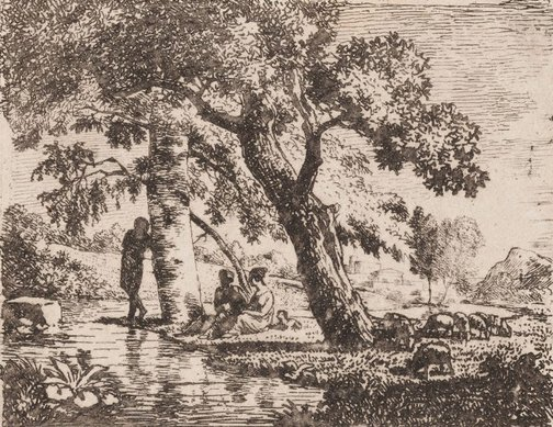An image of Untitled (Landscape with figures by a river) by attrib. Allart van Everdingen