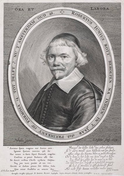 An image of Robert Janius, in lettered oval by Cornelis Visscher, after Anthonie Palamedesz