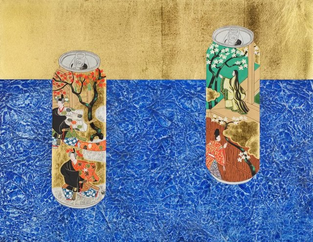 An image of Cans decorated with scenes of chapters 'Young Murasaki' and 'Beneath the autumn leaves' from 'The Tale of Genji' on blue carpet
